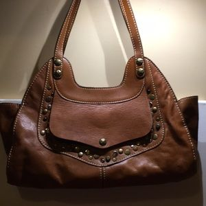 Patricia Nash Ergo Studded shoulder bag used, tan